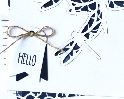 Cute tag detail for handmade die cut cards
