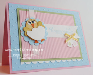 Easter Chick Punch Art Handmade Greeting Card