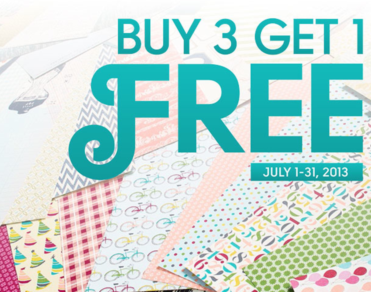 Patterned Paper Sale:  Buy 3, Get 1 Free Ends Today!