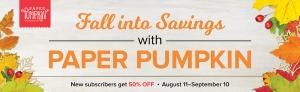 Get a 50% Discount On Paper Pumpkin!