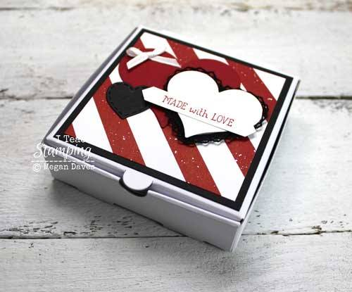 Stampin' Up! mini pizza boxes for Valentines' Day