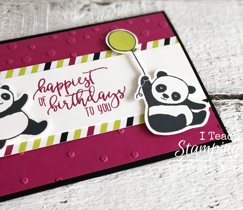 Fussy cutting with stampin up party pandas