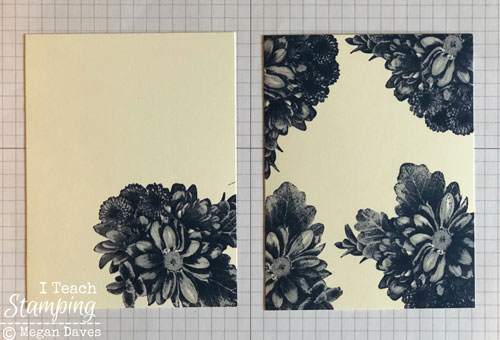 quick tutorial using Stampin Ups Heartfelt Blooms | Both panels stamped