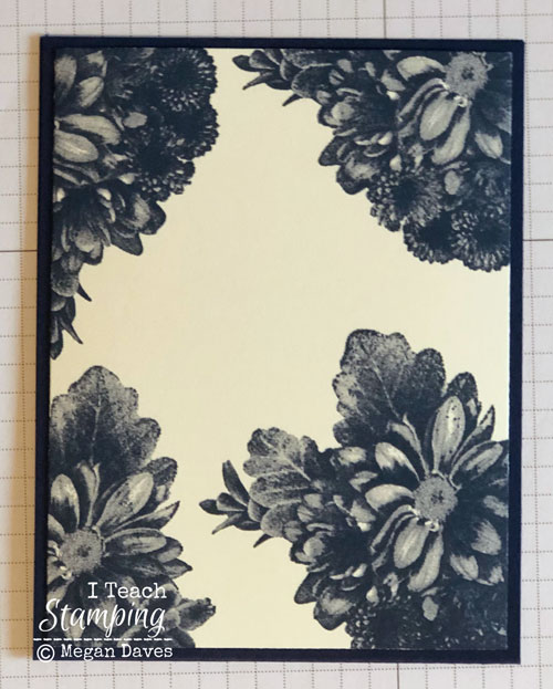 quick tutorial using Stampin Ups Heartfelt Blooms | on Navy card base