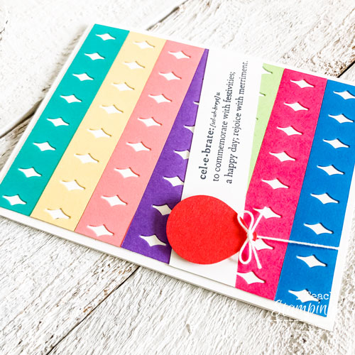 Awash in piles of paper scrap? Click through to see how to use them up on a super cute card!