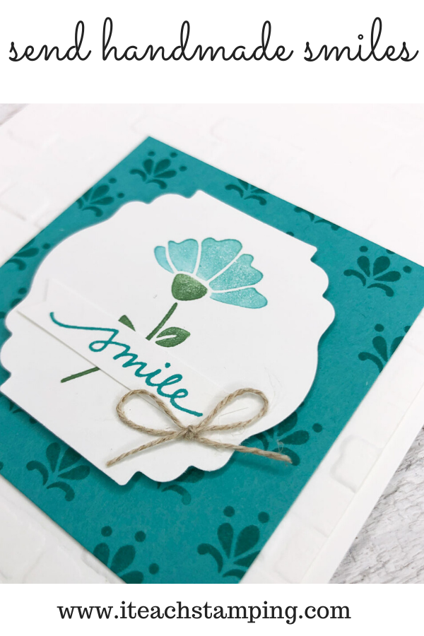 This pretty detail on this DIY greeting card was made by coloring on stamps - come see how it's done!