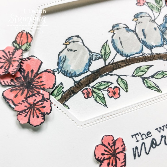 I kept the coloring on this bird card simple to match the sketch style of the stamp - come get the details!