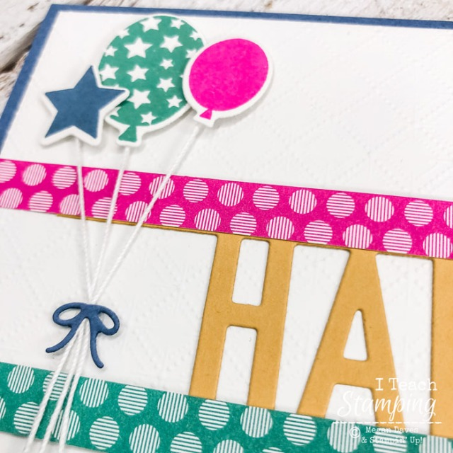 This closeup of this birthday card shows why the Stampin' Up! In Colors 2020-2022 work so well together!
