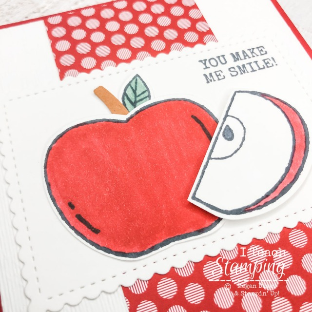 Close up of the apple image on Cards to Cheer Someone Up
