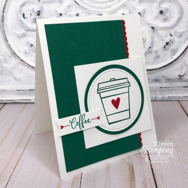 Make cards for coffee lovers like this one with a simple handstamped image set off by textured paper and pops of red