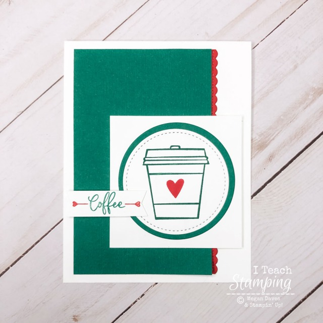 This sample of cards for coffee lovers features a handstamped image, layers of color coordinated cardstock and a cute greeting