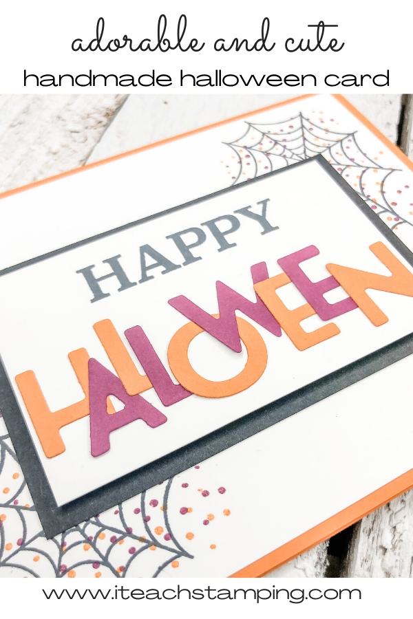 One of today's Halloween Greeting Cards made using small, Halloween colored die cut letters