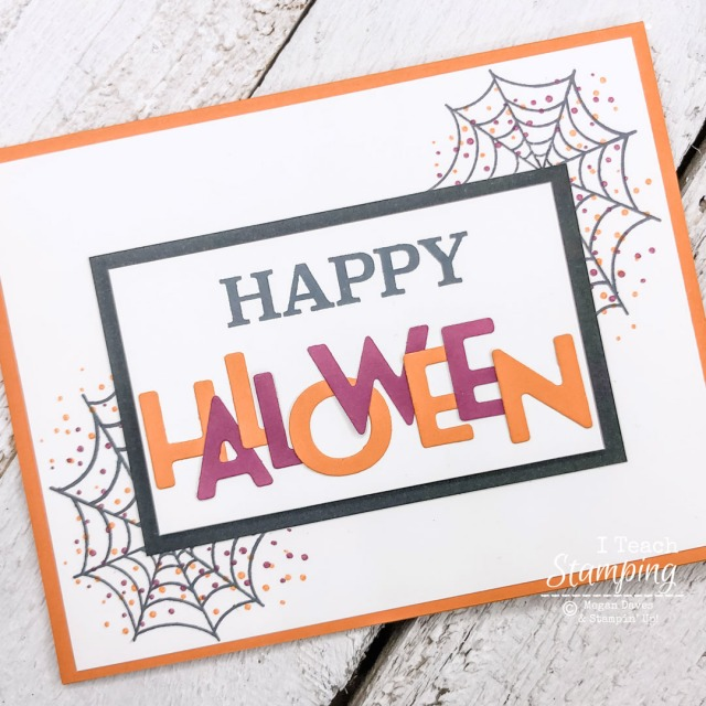 A sample of die cut letter cards for Halloween with a multicolored greeting