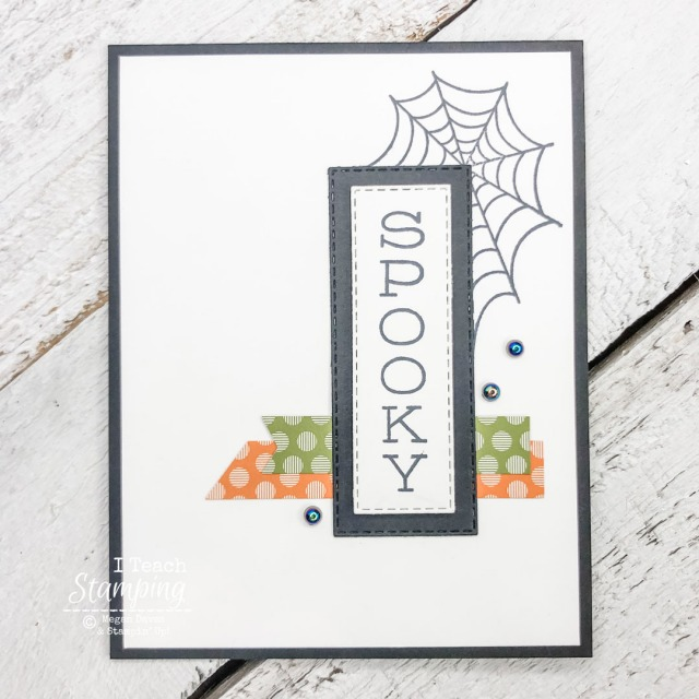 On of my Halloween Card Ideas using a vertical greeting, paper scraps and a spiderweb stamp
