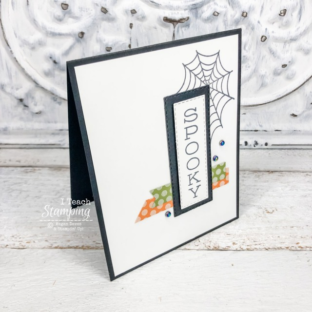 One of my Halloween Card Ideas using a new corner stamp of a spiderweb and new iridescent pearls