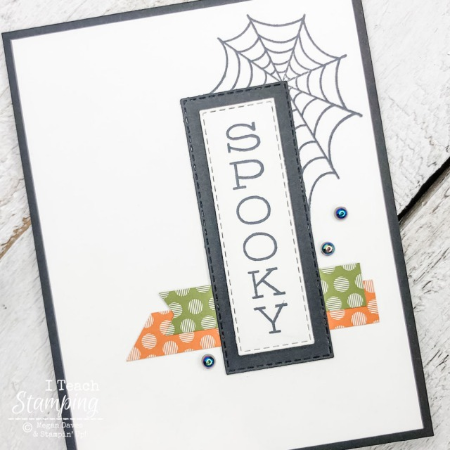 One of today's Halloween Greeting Cards showing a simple idea of a greeting over Halloween colored scraps of paper and a stamped spiderweb