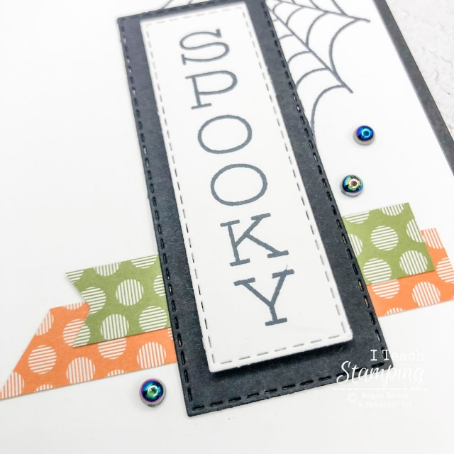 A closeup of one of my Halloween Card Ideas showing the lift of the greeting and the sheen of the new iridescent pearls