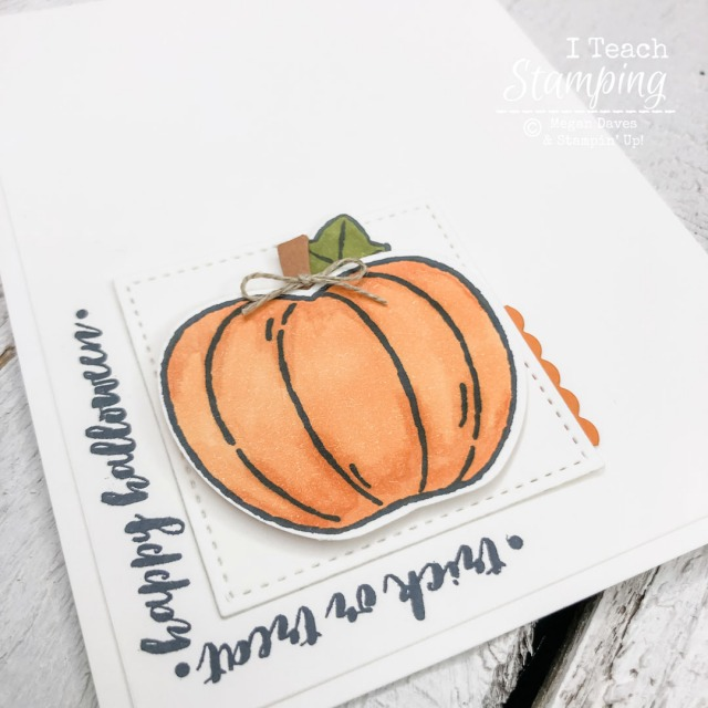 A handstamped pumpkin card made special with small artistic touches