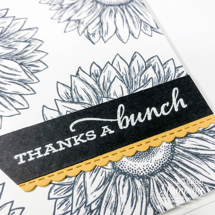 This closeup of the colorful banner from these Thank You Card Ideas featured heat embossing for pop