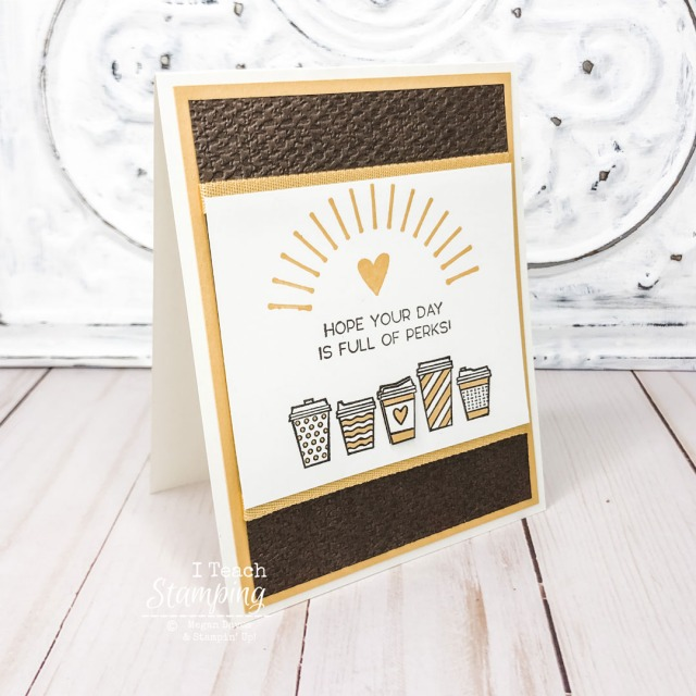 An idea of quick and easy coffee cards featuring stamped coffee cups