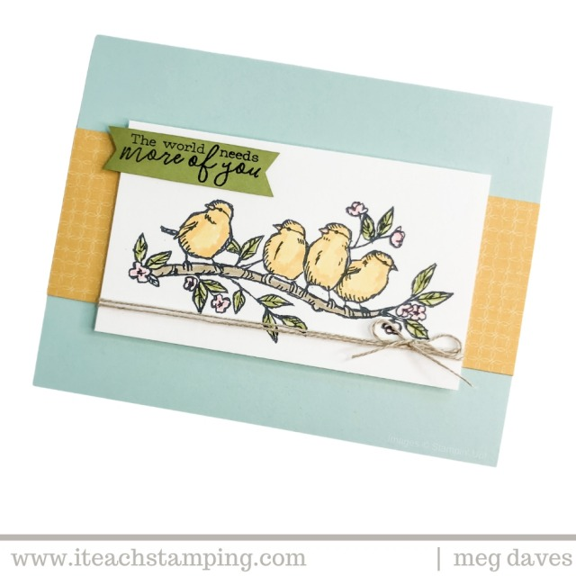 A super quick and easy greeting card for friend wishes featuring adorable hand stamped and hand colored birds on a branch