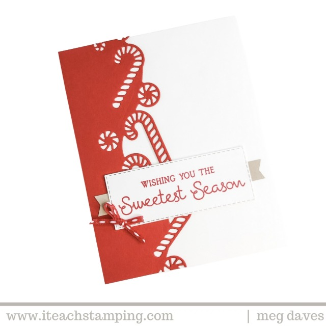 One of my simple Christmas card designs featuring a red die cut on a white background with a charming seasonal greeting
